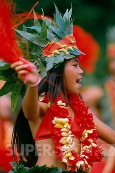 Stock Photo #1760-5417, French Polynesia, Tahitian children dancing with leis & headpiece, outdoors A57A