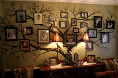Great idea! Create a Family Tree photo wall display.