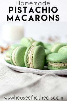 These delightful Pistachio Macarons are filled with pistachio buttercream and remind me of our time in Paris and the famous French macarons we got from Ladurée. Let your tastebuds do the traveling without the jetlag by making these at home! Gourmet Desserts, Easy Desserts, Dessert Recipes, Peanut Butter Desserts, Chocolate Desserts, Pistachio Macaron Recipe, Matcha, Buttercream Filling, Famous French