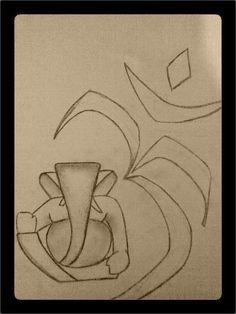 Ganesha Sketch yet to paint. - Sketching by Rajdeep Nair at touchtalent Ganesha Sketch, Ganesha Drawing, Lord Ganesha Paintings, Ganesha Art, Ganpati Drawing, Ganesha Rangoli, Art Drawings For Kids, Art Drawings Sketches Simple, Abstract Geometric Art