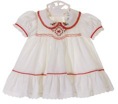 NEW Polly Flinders White Smocked Dress with Red Poinsetta Embroidery Little Girl Dresses, Girls Dresses, Summer Dresses, Smocked Baby Clothes, Smock Dress, Lovely Dresses, Toddler Dress, Holiday Dresses, Smocking