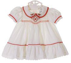 NEW Polly Flinders White Smocked Dress with Red Poinsetta Embroidery Little Girl Dresses, Girls Dresses, Summer Dresses, Smocked Baby Clothes, Smock Dress, Lovely Dresses, Holiday Dresses, Toddler Dress, Smocking