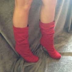 Sexy Red Suede Boots Size 11