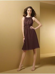 A-line Knee Length Chiffon Wedding Party / Bridesmaid Dresses