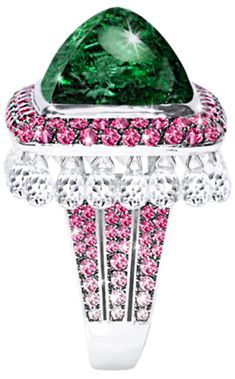 "JdJ ""Jaipur"" ring with Green Tourmaline cabochon, Pink Sapphires and White Topaz briolettes in 18k white gol.  Via 1stdibs."