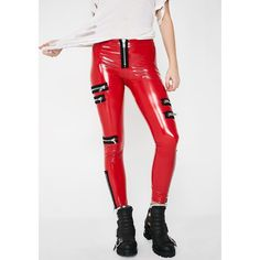 Current Mood Fiery Personality Crisis Leggings ($55) ❤ liked on Polyvore featuring pants, leggings, shiny pants, shiny leggings, current mood, wetlook leggings and wet look leggings