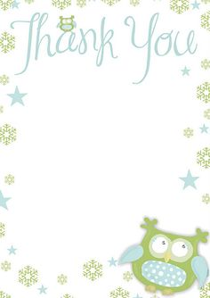 Free printable Thank You -paper with a cutie Owl