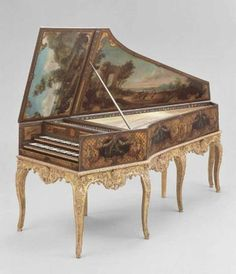 1736 French Harpsichord at the Museum of Fine Arts, Boston - For those who could afford it, musical instruments became objets d'arts in their own right: elaborately decorated and, in the case of harpsichords, even the inside of the lid was included in this.
