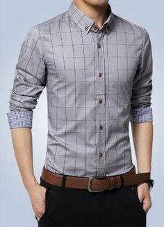 Plaid Shirt Slim Fit Dress Shirt
