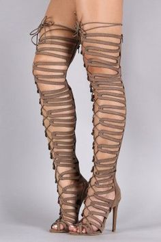Shop Suede Strappy Cage Lace-Up Open Toe Thigh High Heels. This heel features an open toe design, corset lace-up, and stiletto heels. Thigh High Heels, Hot High Heels, Platform High Heels, High Heel Boots, Heeled Boots, Boot Heels, Gladiator Heels, Strappy Heels, Shoes Heels