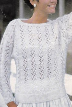 Vintage Knitting Pattern Instructions to Make Ladies Womens Lace Jumper Sweater