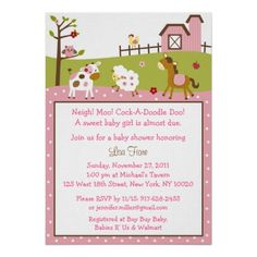 Pink Farm Girls Custom Baby Shower Invitations