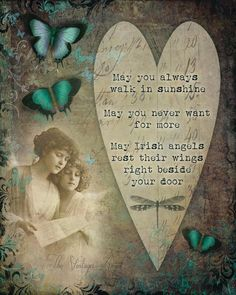 A vibrant, detailed full color art print made with Epson lightfast inks in my studio.  This inspirational print features whimsical vintage elements including two vintage angels and colorful butterflies, layered with a traditional Irish blessing.  Print is 8