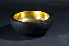 Stunning gold lined, bowl.  The exterior is burned to produce the deep grain and black finish which really contrasts with the gold leaf.