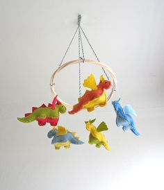 Nursery mobile, dragon, small dragons, crib, baby, organic, flying, colorful, multicolor, baby gift, nursery decor, magical creature. $80.00, via Etsy.