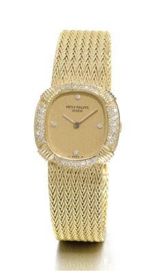 Lady's 18K Yellow Gold Diamond Cushion-Form Barcelet Wristwatch, Patek Philippe