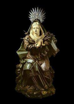 Aleijadinho (1730-1814) - Nossa Senhora das Dores; madeira policromada, Minas Gerais, século XVIII. Altura: 83 cm. Acervo do Museu de Arte Sacra de São Paulo (São Paulo, Brasil)