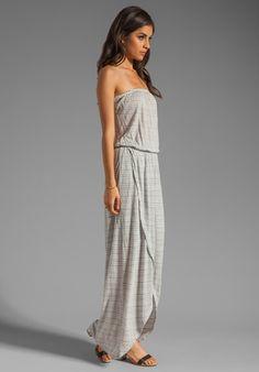 GYPSY 05 Megan Crepe Stripe Strapless Wrap Maxi Dress in Grey