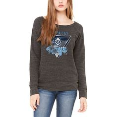 Tampa Bay Rays Let Loose by RNL Women's Eighty Something Wide Neck Sweatshirt - Charcoal