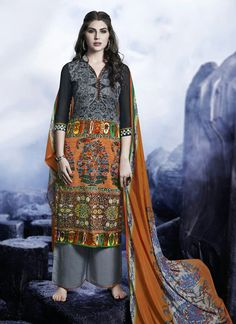Glorious multi colour printed palazzo suit. features suit top heavy luxurious satin with velvet touch, bottom glaze cotton satin and dupatta chiffon satin. Comes with matching bottom...