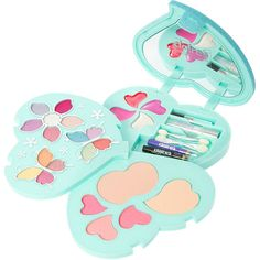 Blue Glitter Heart Shaped Makeup Set ($35) ❤ liked on Polyvore featuring beauty products, makeup, pencil eyeliner and pressed powder makeup