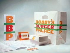 Packaging for celebrity chef Bobby Flay's Long Island burger joint. Design by Michael Bierut.