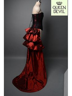 Dark Red Corset and Half Layered Skirt Two Piece Dress - Queen Devil