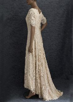 """Battenburg silk lace wedding dress, c.1905    Imagine your walk down the aisle wearing an heirloom quality dress, """"something old"""" for your special day. With antique lace and a gracefully trained back, the exquisite wedding dress has everything you could want in an heirloom quality Edwardian garment."""