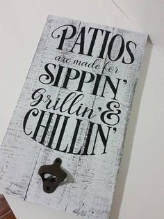 Patio Sign, Grilling & Chilling, Outdoor Wood Sign, Bottle Opener Sign, Patio Decor, Porch Sign, Patio Wall Decor, Pallet Wood Sign. #affiliate