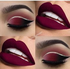 Red lip makeup eyeshadow cut crease