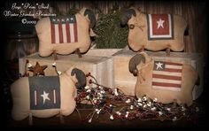 PatternMart.com ::. PatternMart: Primitive Folk Art Sheep with Americana Throw Blankets E-Pattern