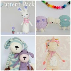 Crochet Amigurumi Toy PATTERN Pack Special Offer Unicorn, tortoise, dog and bunny Toy Plush Animals