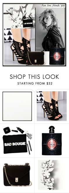 """black opium"" by sanela-m ❤ liked on Polyvore featuring By Lassen, Yves Saint Laurent, Valentino, Élitis and Bobbi Brown Cosmetics"