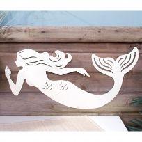 Sea Chic Mermaid Silhouette Metal Sign Die Cut