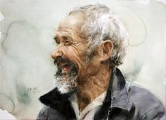 Guan Weixing's Watercolor-Sunny old man