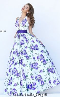 Purple Sherri Hill Floral Print 50472 Evening Gown Sexy 2016