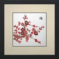 King Silk Art, 100% Handmade Suzhou Silk Embroidery, Framed Art 13x13 inch - Red Plum Blossoms on White 36065WF... $48.48 (save $51.50)