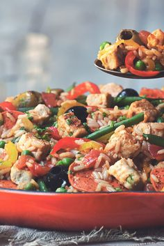 Get inspired & try this delicious Meat Free Vegetable & Chicken Paella recipe with Quorn Meat Free Chicken Pieces. Enjoy meat free alternatives with Quorn. Quorn Recipes, Pureed Food Recipes, Veggie Recipes, Vegetarian Recipes, Cooking Recipes, Healthy Recipes, Quorn Meals, Chicken Paella, Chicken Satay