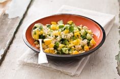 Israeli Couscous with Mango, Cucumber and Cilantro - I'm going try this with a package of mixed grains I got the other day at Trader Joe's.
