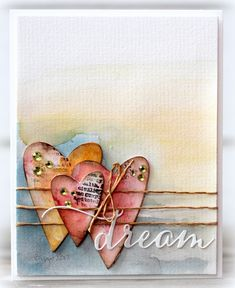Efficacious Scrap Book Pages - Kaarten Maken Valentine Love, Valentine Day Cards, Karten Diy, Atc Cards, Heart Cards, Watercolor Cards, Watercolor Background, Greeting Cards Handmade, Love Cards Handmade