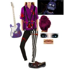 Outfit 56: Bonnie the Bunny from Five Nights At Freddy's by mandi-hatter on Polyvore featuring moda, St. John's Bay, Type Z, River Island, Freddy, fivenightsatfreddy, fnaf and bonniethebunny
