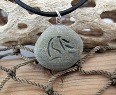 Horse Waves  engraved Beach Stone Pendant  A horse by castastone