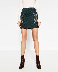 Image 3 of PRINTED LEATHER FLARE SKIRT from Zara