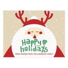 Deer Santa Merry Christmas Happy New Year Greeting Postcard - New Year's Eve happy new year designs party celebration Saint Sylvester's Day