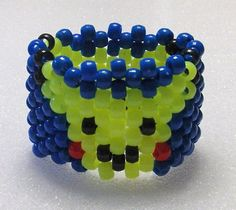 """Kandi Cuff With Pikachu In Yellow On Blue Background Pony Beads Stretchy For Comfort Fits 7"""" Wrist Perfect For Ravers,Gifts,Trade,Collect PLUR"""