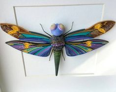 Quilled Wall Art Paper Dragonfly Quilling  Framed Home Decor by ToschaArt | Etsy
