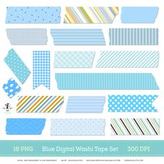 If you're a fan of Washi tape you'll love this Blue Digital Washi Tape Set. Perfect for use in your digital scrapbook projects and to embellish website/blog sections. By GoneDigital