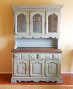 Hutch painted with Chalk Paint.  I want to try repurposing something with Chalk Paint.  Love the look..
