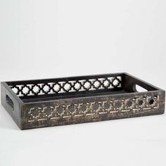 Handcarved Indian Rosewood Filigree Large Serving Tray | Joss & Main