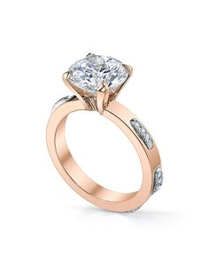 Michael B. rose gold stitch lace ring with round center I Style: Stitch Collection I https://www.theknot.com/fashion/rose-gold-stitch-lace-ring-michael-b-engagement-ring?utm_source=pinterest.com&utm_medium=social&utm_content=june2016&utm_campaign=beauty-fashion&utm_simplereach=?sr_share=pinterest